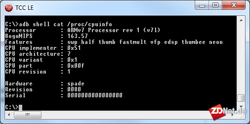 Mittels <i>adb</i> aus dem Android-SDK bekommt man Zugang zur Unix-Shell. So kann man sich beispielsweise Informationen über den Prozessor anzeigen lassen.<br><br>Android verfügt nur über wenige Unix-Kommandozeilenbefehle. Daher ist es sinnvoll, einen Root-Hack zu verwenden, der <i>busybox</i> installiert. Dann hat man die wichtigsten Unix-Kommandos parat.