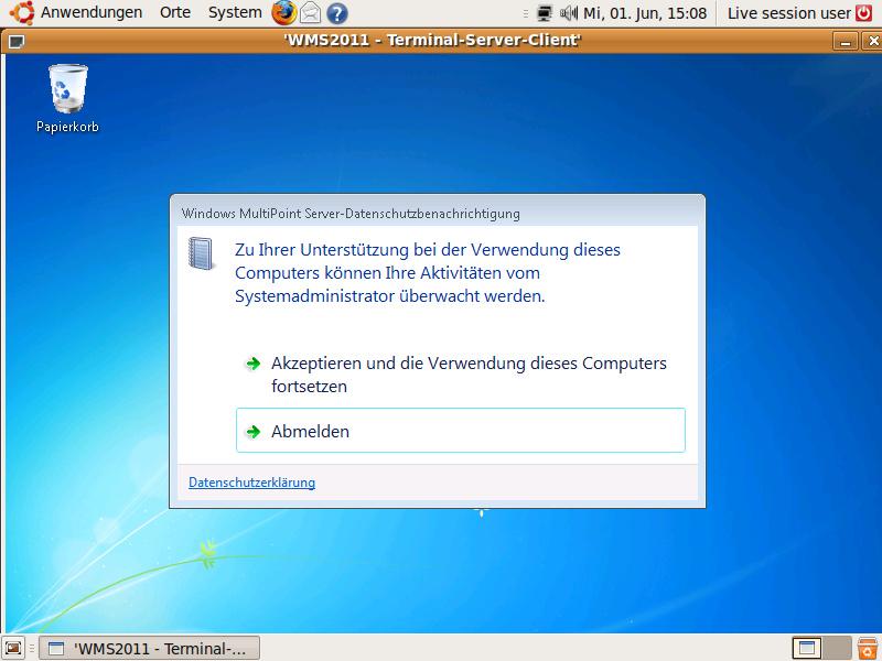 Die Anbindung von Netzwerkstationen bei WMS 2011 über RDP gestattet auch die Verwendung von Linux-Terminals (Screenshot: Eric Tierling).