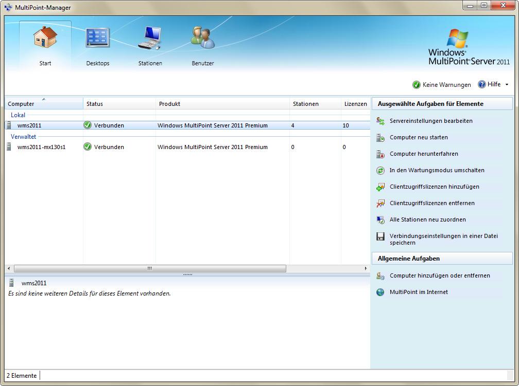 """Über das Tool """"MultiPoint Manager"""" werden alle Verwaltungsaufgaben erledigt (Screenshot: Eric Tierling)."""