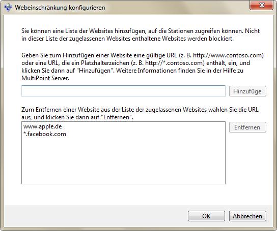 Die Definition von Webeinschränkungen dient dazu, bestimmte Webseiten für Benutzer zu blockieren  (Screenshot: Eric Tierling).