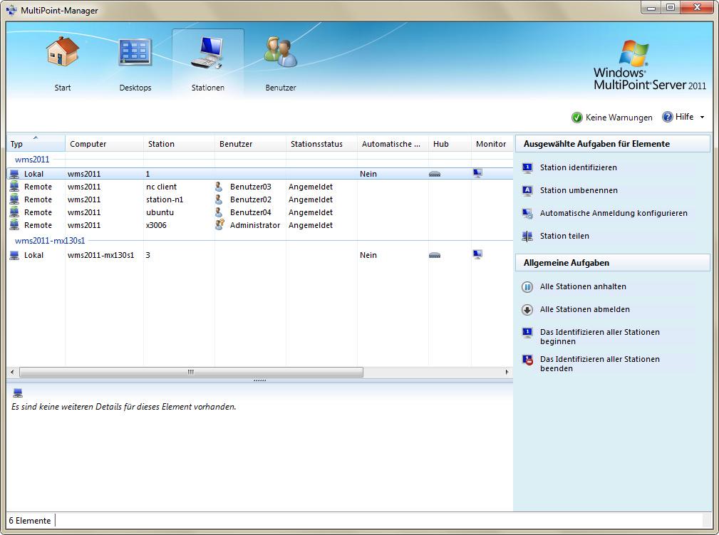 Übersicht der lokalen sowie per Netzwerk angebundenen Stationen (Screenshot: Eric Tierling).