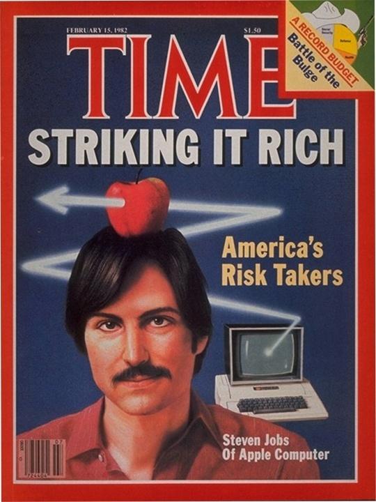 Im Februar 1982 erlebte Apple sein Debüt auf dem Cover des Time Magazine. In der Story America\'s Risk Takers ging es um Unternehmer wie Atari-Mitbegründer Nolan Bushnell und FedEx-Gründer Frederick Smith. Zu dieser Zeit hatte Apple 20 Prozent des Weltmarkts für PCs und musste mit der Vorstellung des IBM-PC rechnen (Bild: Time).