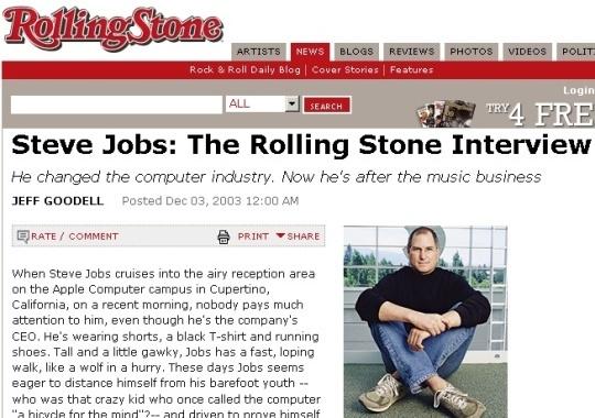 """In einem Interview mit Rolling Stone im Dezember 2003 gab Jobs eine klare und vorsichtige Betrachtung der Musikindustrie. CNET-Redakteur Greg Sandoval war fünf Jahre später überrascht über die Genauigkeit der Vorhersagen bezüglich Digital Rights Management, Abodienste und vier der großen Labels.<br />\""""Apple hat einige Talente, darunter Hardwaredesign, Industriedesign, System- und Applikationssoftware. Und wir beherrschen es, alles in einem Produkt zu vereinen. Diese Talente können für die Entwicklung von Computern verwendet werden, aber auch für Dinge wie iPods\"""", so Jobs im Rolling-Stone-Interview."""
