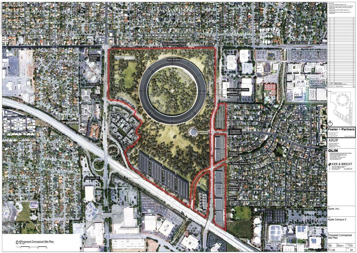 """Das \""""kleine gelandete Raumschiff\"""" befindet sich im nördlichen Bereich des ehemaligen HP-Geländes. Rechts unterhalb ist das Corporate Auditorium und links oben ein Fitness-Center geplant. Die <a href=\""""http://maps.google.com/maps?q=Pruneridge+Avenue+cupertino&um=1&ie=UTF-8&hq=&hnear=0x808fca7d1487b3d3:0x3f2c9af07ff5ed44,Pruneridge+Ave,+Cupertino,+CA&ei=MwriTp_CF4PIsgaH04jgAw&sa=X&oi=geocode_result&ct=image&resnum=1&ved=0CCQQ8gEwAA\"""" target=\""""_blanK\"""">Prunridge Avenue (Google Maps)</a>, führt in der Mitte des Bereichs durch einen Tunnel. Derzeit verläuft die Straße noch oberirdisch. Am südlichen Ende entsteht an der Grenze zur Interstate 280 ein sechsstöckiges Parkhaus (vier oberirdisch) mit 9220 Stellplätzen, dessen knapp 3 Hektar großes Dach aus Photovoltaik-Elementen besteht. Rechts davon befindet sich ein Kraftwerk für die Stromversorgung.<br />(Bild: Cupertino.org)"""