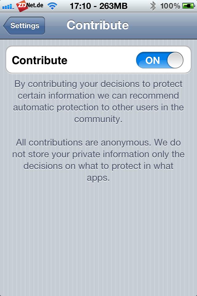 Unter Contribute lässt sich festlegen, ob man die Entscheidungen bezüglich der Apps an den Entwickler von PMP übermittelt oder nicht.