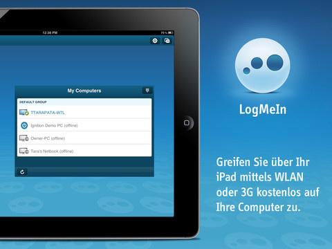 Mit der passenden Apps lassen sich Windows, OS X, Linux und sogar Windows 8 aufs iPad streamen und erlauben so auch unterwegs flexiblen Datenzugriff. Speziell Cloud-basierte Dienste sind hier stark im Kommen. ZDNet hat sich die Top-Lösungen angesehen. Eine verbreitete Lösung ist LogMeIn. Sie bietet überall Zugriff vom iPad auf den PC oder Mac (Bild: LogMeIn).