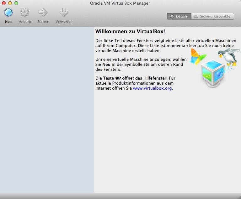 Für die Installation wird die Mac-Version verwendet. Die Benutzeroberfläche unterscheidet sich jedoch nicht von der Windows- und Linux-Variante.