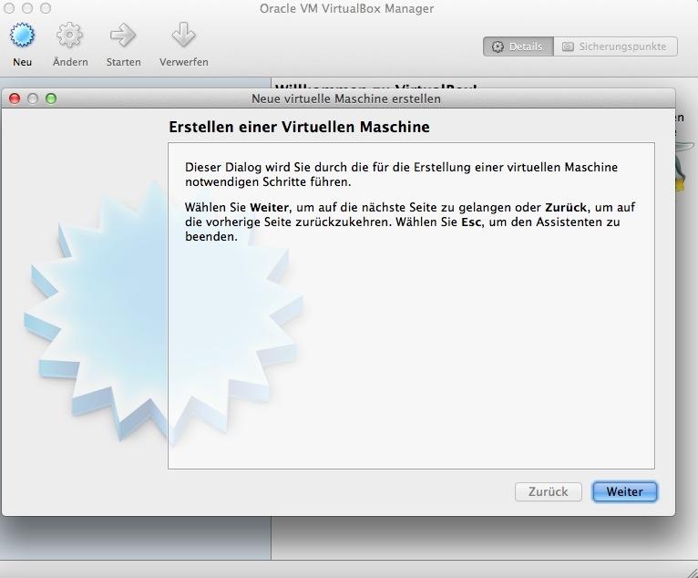 """Nach dem Start von Virtualbox klickt man zunächst auf \""""Neu\""""."""