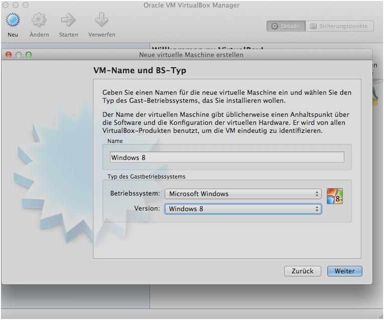 Anschließend führt ein Wizard durch die einzelnen Installationsschritte. Wenn man Windows 8 als Namen eingibt, wird die entsprechende Betriebssystemversion von Virtualbox automatisch ausgewählt.