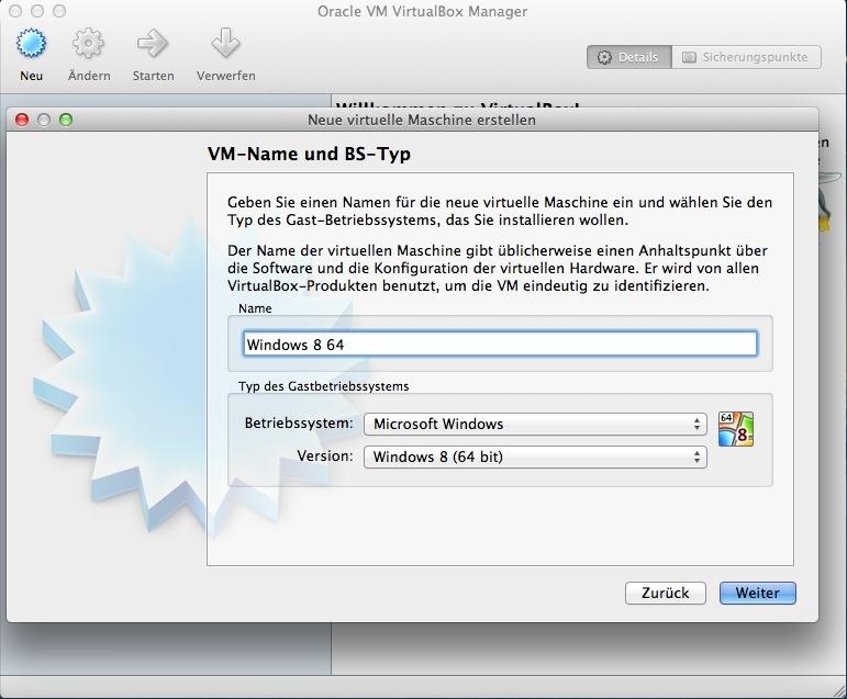 """Für die Installation von Windows 8 64-Bit gibt man einfach noch \""""64\"""" ein und schon stellt Virtualbox auf das korrekte Betriebssystem um."""