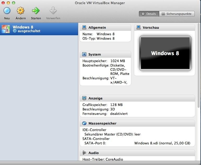 Anschließend zeigt sich der Startbildschirm von Virtualbox mit den Daten der erstellten virtuellen Maschine.