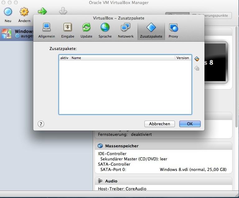 Bevor die Installation von Windows 8 beginnt, werden noch die Gasterweiterungen eingebunden.