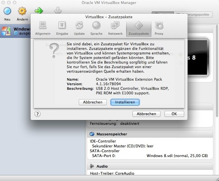 Unter anderem sorgen die Gasterweiterungen für USB-2.0- und SATA-Support. Oracle weist daraufhin, dass die Erweiterungen aber auch Probleme verursachen können.