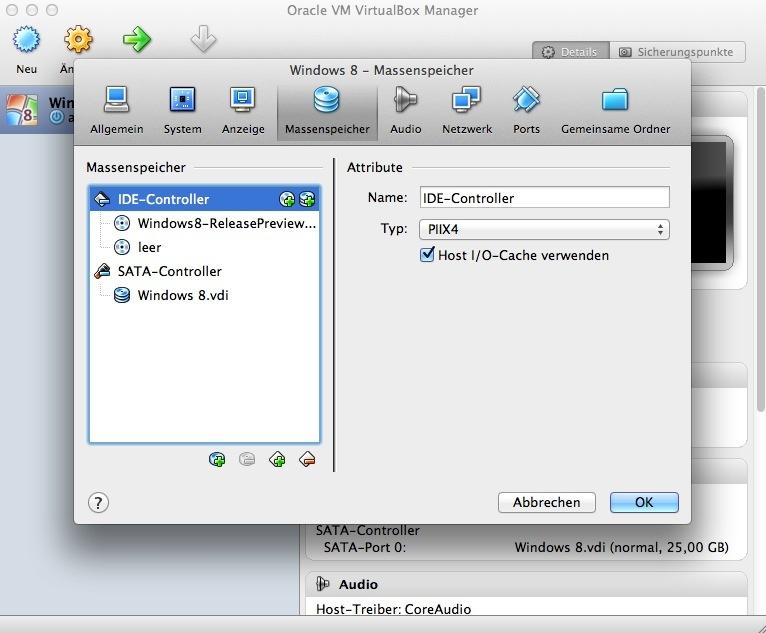 Die Windows-ISO ist nun eingebunden und die eigentliche Installation von Windows 8 kann beginnen.