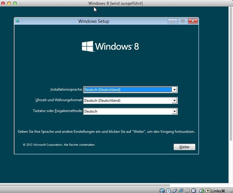 Jetzt beginnt die Installation von Windows 8.