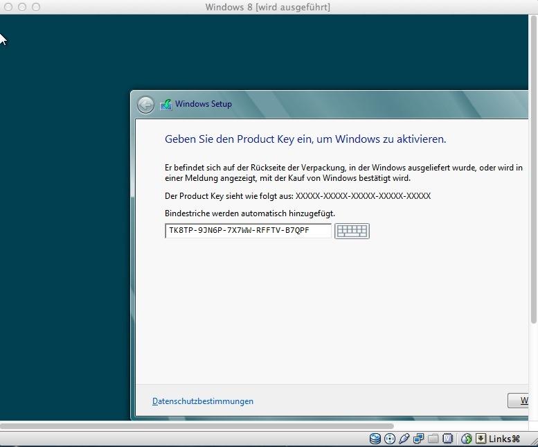 UPDATE: Für die Installation der Testversion ist die Eingabe eines Produktkeys nicht nötig.