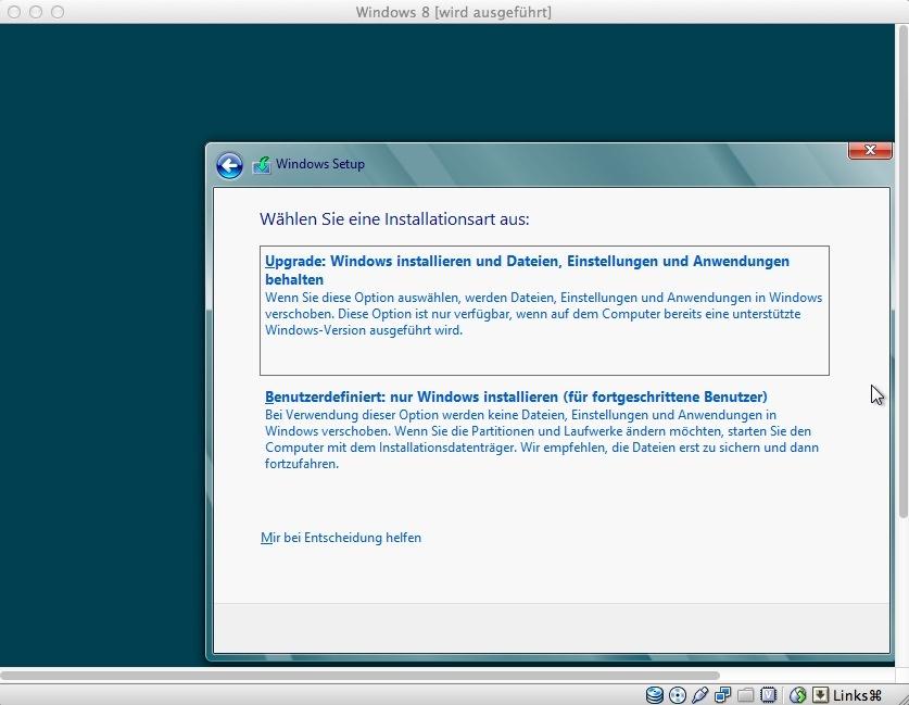 Anschließend wird die Installationsmethode ausgewählt. Da sich keine Windows-Installation auf der virtuellen Festplatte befindet, wählt man die untere Option aus.