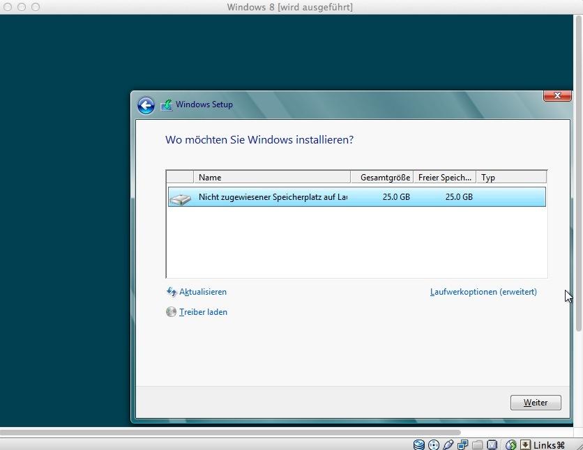 Anschließend fragt das Setup-Programm nach, auf welcher Partition/Festplatte die Installation erfolgen soll. Da der virtuelle PC nur eine Partition bietet, ist die Entscheidung einfach.