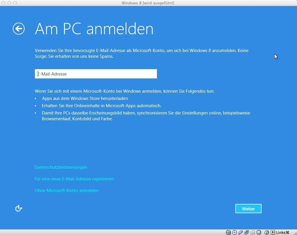 Jetzt erscheint der Anmelde-Bildschirm. Standardmäßig schlägt Windows 8 die Anmeldung mit einem Windows-Live-Konto vor. Es ist aber auch eine lokale Anmeldung möglich (Ohne Microsoft-Konto anmelden).