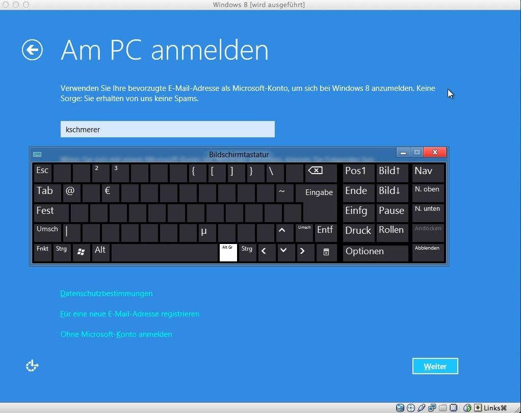 Die virtuelle Tastatur hilft weiter.