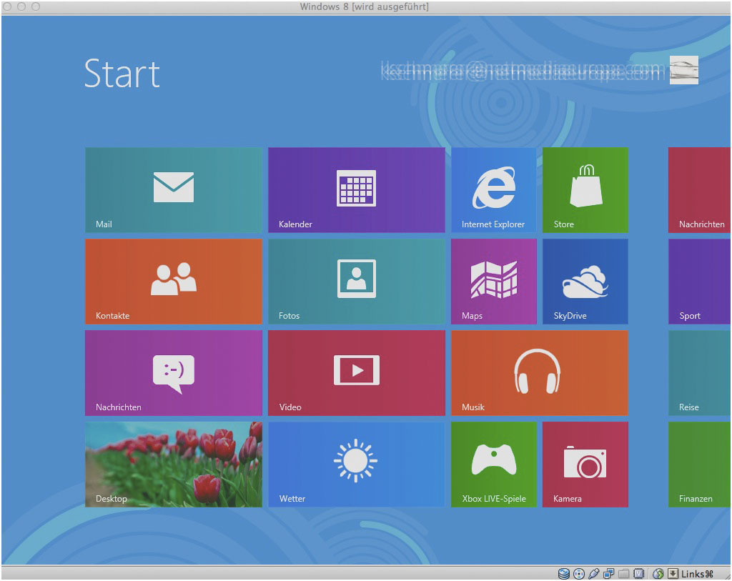 Und endlich präsentiert sich der Startbildschirm von Windows 8.