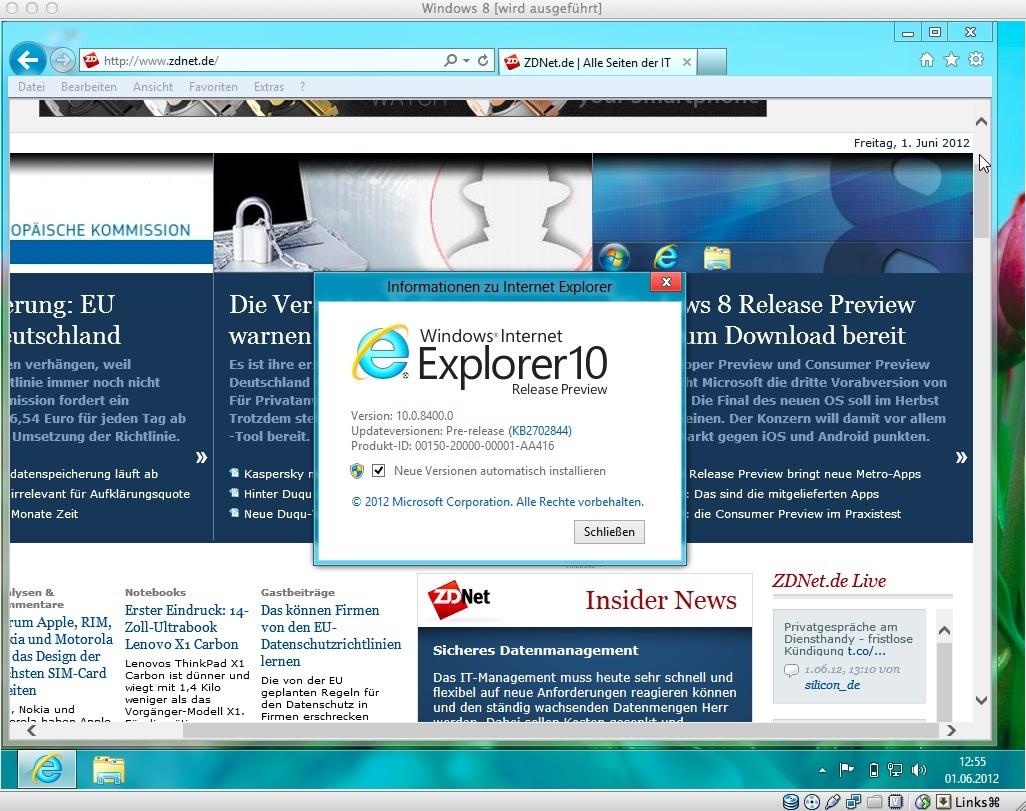 Ein erster Test mit dem Internet Explorer zeigt, dass die Netzwerkverbindung funktioniert.