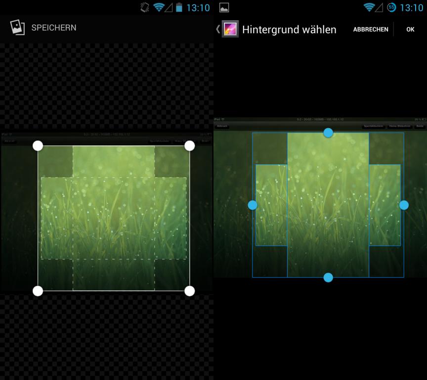 Die neue Kamera-App von Andoid 4.3 bietet eine veränderte Bedienoberfläche. Außerdem unterstützt sie die Panoramafunktion Photosphere, die Google zusammen mit dem Nexus 4 vorgestellt hatte. Auch die Galerieansicht (Kamera und Galerie sind in einer App zusammengeführt) zeigt sich mit einem etwas veränderten Look & Feel. Die Auswahl eines Hintergrundbilds ist intuitiver geworden (links im Bild).
