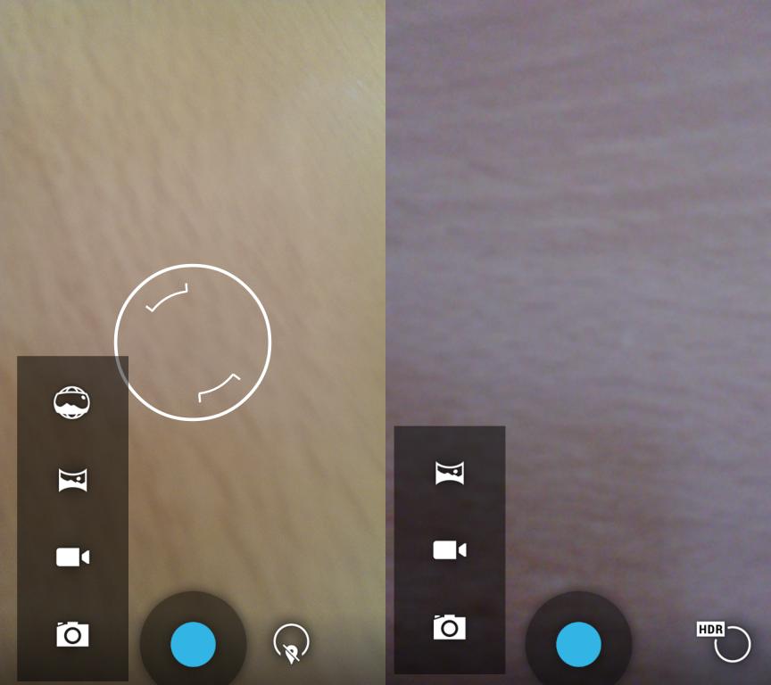 Photosphere, die Möglichkeit Panoramafotos zu erstellen, steht nun standardmäßig zur Verfügung und ist nicht nur auf das Nexus 4 begrenzt (rechts im Bild die alte App).