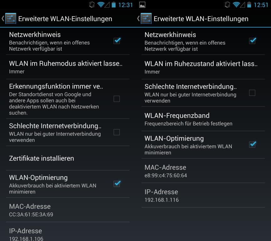 Die erweiterte Standortbestimmung (links im Bild) bei ausgeschaltetem WLAN lässt sich deaktivieren. (rechts im Bild: die WLAN-Einstellungen unter 4.2.2.)