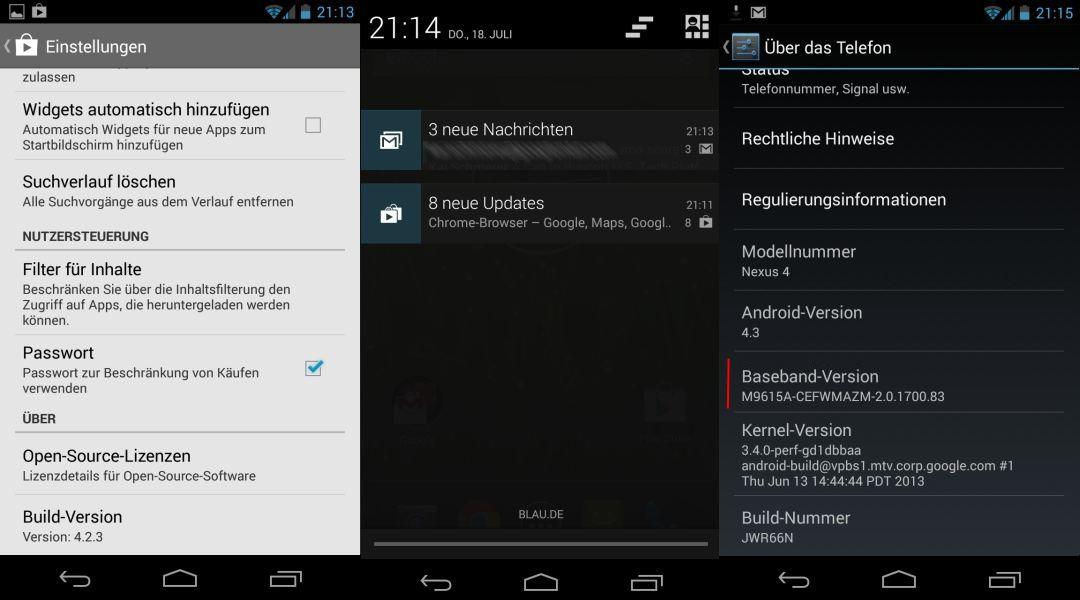 Die App für den Google Play Store wurde überarbeitet (Version 4.2.3). Sie soll angeblich Multi-User-fähig sein und Einschränkungsmöglichkeiten bietet. Das lässt sich allerdings nicht auf dem Nexus 4 überprüfen. Die Einrichtung mehrerer Benutzer erlaubt Google nur bei den Tablets.