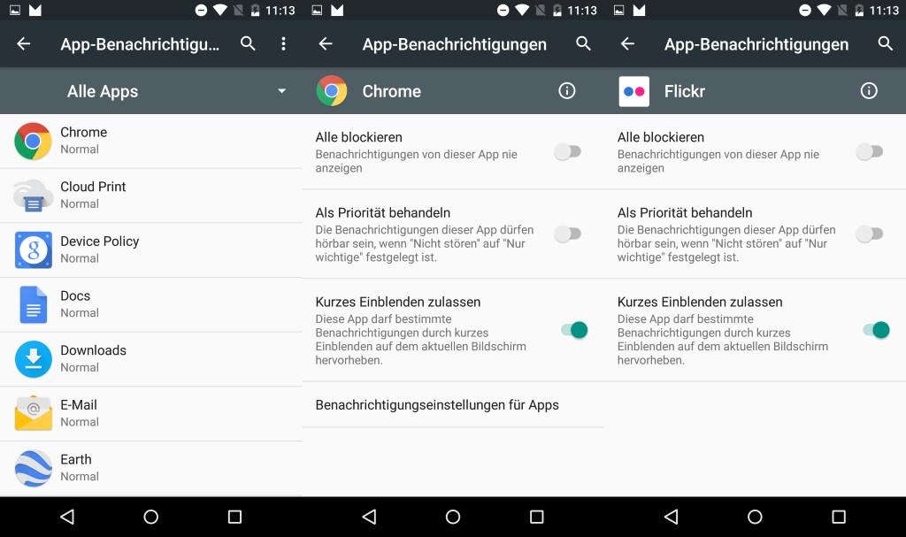 Auch was die Benachrichtigungen von Apps anbelangt, stehen unter Android M zahlreiche Möglichkeiten parat. So lässt sich nun pro App die nervige Heads-Up-Notification (Kurzes Einblenden zulassen) ein- und ausschalten. Das gilt auch für Apps, die nicht zum Lieferumfang von Android M gehören (Flickr).