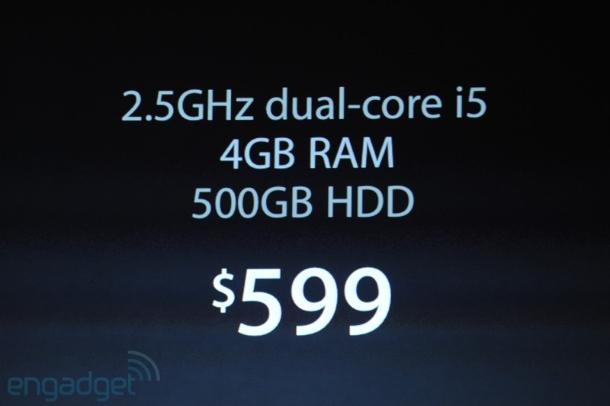 Die neuen Mac mini kommen mit 2,5 GHz Dual-Core i5 mit 4 GByte RAM und einer 500 GByte großen HDD (Foto: Engadget).
