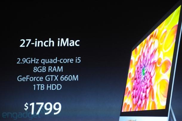 Das größere 27-Zoll-Modell mit 2,9-GHz-Quad-Core-CPU i5, 8 GByte RAM, Geforce GTX 660M und 1-TByte-HDD 1879 Euro. Hier ist je nach Ausstattung natürlich wie immer noch jede Menge Spiel nach oben (Foto: CNET).