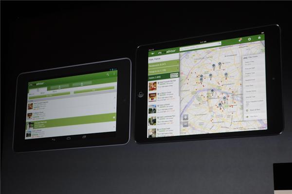 Im direkten Vergleich mit dem 7-Zoll-Nexus präsentiert sich das iPad Mini natürlich größer, hat aber die geringere Auflösung (Foto: CNET).