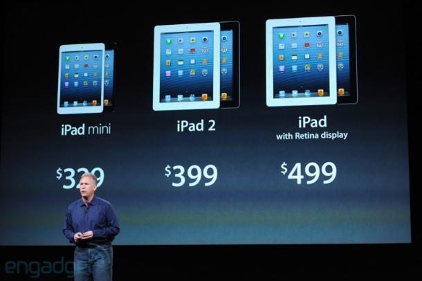 Die Preise: Das iPad Mini wird mit 16 GByte ab 329 Euro zu haben sein (32 GByte kosten 429 Euro und 64 GByte 529 Euro). In der WLAN- mit 3G/4G-Version starten die Preise 459 Euro und gehen bis 659 Euro (Foto: CNET).