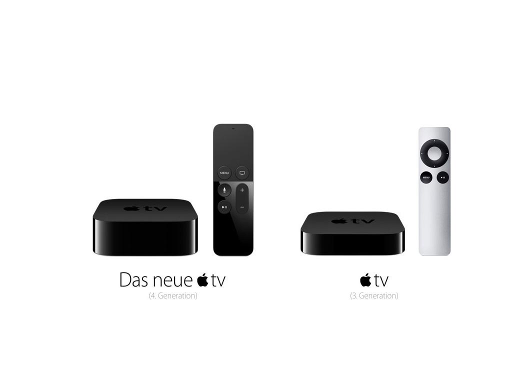 """Der iPhone-Hersteller hat das neue Apple TV - hierbei handelt es sich bereits um die 4. Generation - im September zusammen mit seinen neuen iPhones und dem iPad Pro vorgestellt. Wichtigste Neuerung ist das vollständig neu entwickelte Betriebssystem namens tvOS, das auf iOS 9 aufbaut und eine verbesserte Oberfläche sowie einen eigenen App Store mitbringt. In der aktuellen Version 9.0 Build 13T396 ist der App Store allerdings noch nicht freigeschaltet.<br> Gegenüber der Vorgängergeneration, die weiterhin erhältlich ist, sieht man auf den ersten Blick, dass das Gerät deulich dicker geworden ist. Bei gleichbleibenden Abmessungen von Breite und Tiefe von je 98 mm legt die Höhe von 23 auf 35 mm zu. Das Gewicht liegt mit 435 Gramm 150 Gramm höher. Als Prozessor kommt jetzt Apples Dual-Core-Chip A8 zum Einsatz, der auch das iPhone 6 antreibt. Der drei Jahre alte Vorgänger verwendete noch die Einkern-CPU A5 des ersten iPad Mini und iPad 3. Der Audioausgang unterstützt neuerdings Dolby Digital 7.1 statt nur 5.1. <a href=\""""http://www.zdnet.de/88250221/apple-tv-4-generation-kann-bestellt-werden/\"""">Hierzulande</a> kostet es ab 179 Euro. In den USA verlangt Apple für die Variante mit 32 GByte Speicher 149 Dollar. Die Variante mit 64 GByte Speicher bietet Apple für 199 Dollar beziehungsweise 229 Euro an.<br> (Bild: Apple)"""