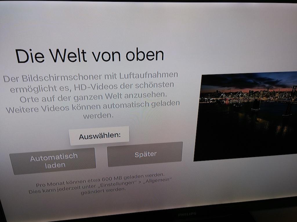 Als neue Bildschirmschoner-Option stehen Videos zur Verfügung, die von Apple geliefert werden. Diese können monatlich das Datenvolumen mit bis zu 600 MByte belasten. <br> (Bild: ZDNet.de)