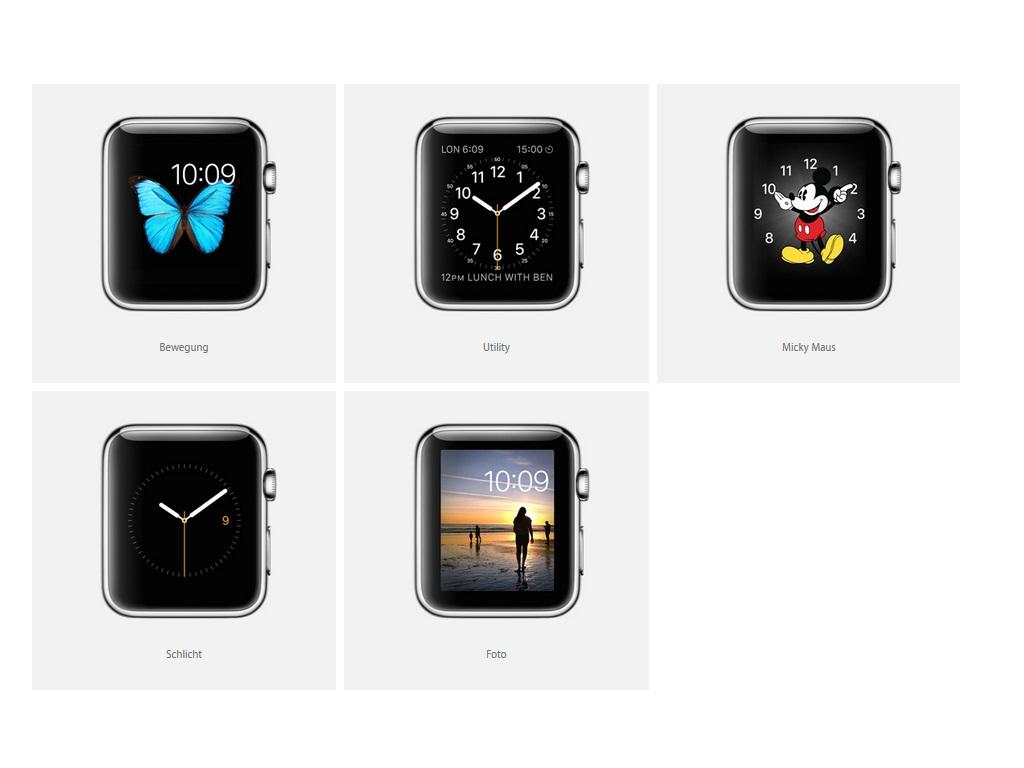 Insgesamt stehen 11 Zifferblätter zur Auswahl (Bild: Apple).