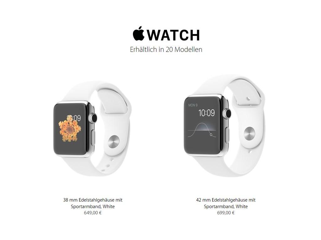 links: 38 mm Edelstahlgehäuse mit Sportarmband, White <br> rechts: 42 mm Edelstahlgehäuse mit Sportarmband, White (Bild: Apple)
