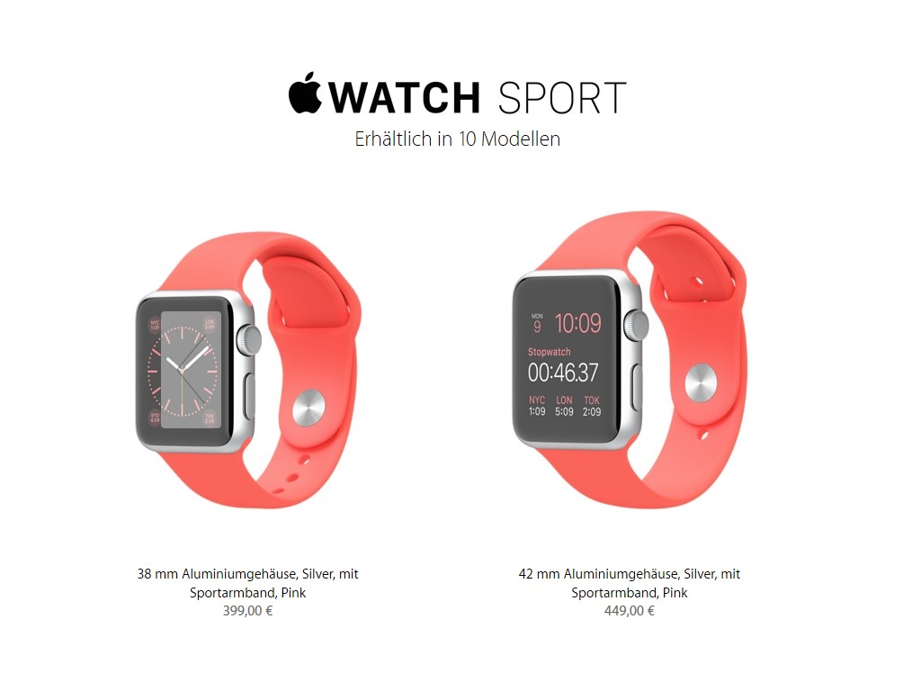 links: 38 Aluminiumgehäuse, Silver, mit Sportarmband, Pink 399 Euro <br>rechts: 42 mm Aluminiumgehäuse, Silver, mit Sportarmband, Pink 449 Euro (Bild: Apple)