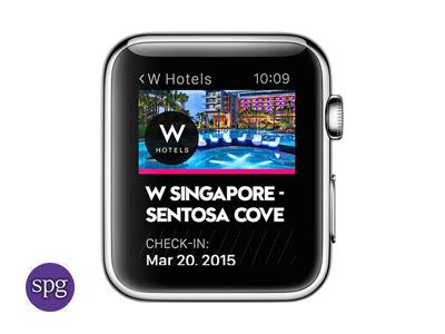 <b>SPG</b><br><br>Mit der App von Starwood Hotels & Resorts lässt sich die Zimmertüre mit der App aufschließen. Mit SPG  gibt es eine  Wegbeschreibung zum Hotel und einen Check-in (Bild: Apple).