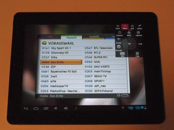 Damit stehen dann auch auf dem Tablet verschiedene Bedien- und Auswahloptionen zur Verfügung (Bild: Peter Pernsteiner).