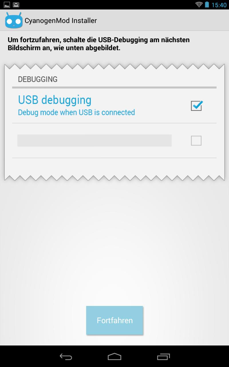Als erstes muss USB-Debugging aktiviert werden.