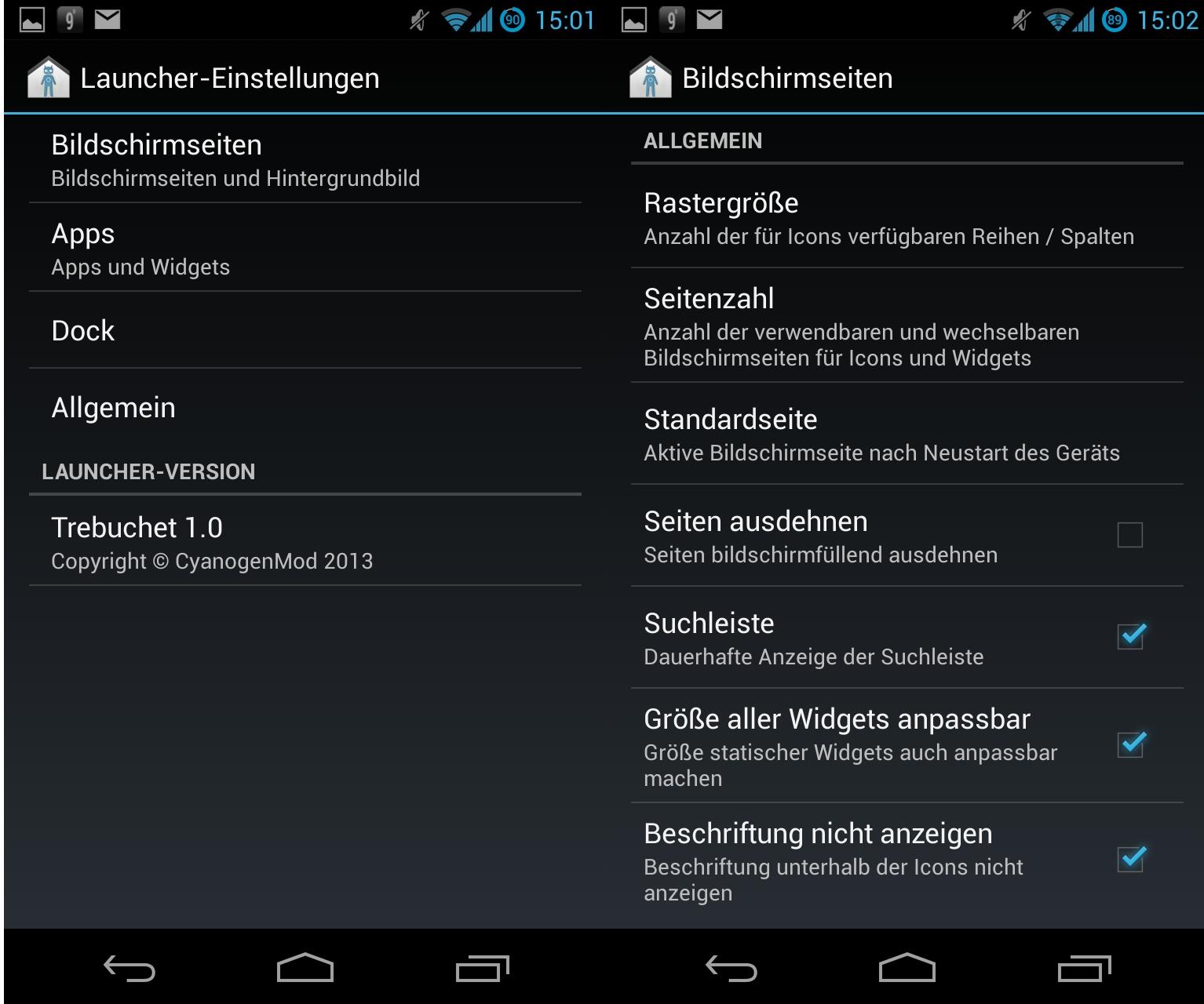 Der in CyanogenMod 10.1 enthaltene Launcher Trebuchet stellt die zentrale Benutzeroberfläche bereit. Er bietet zahlreiche Konfigurationseinstellungen, die Bildschirmseiten, Apps, Dock und Allgemein umfassen.<br> Beispielsweise lässt sich die Größe aller Widgets anpassen, die Beschriftung unter den Symbolen und die Suchleiste ausblenden, die Anzahl der Bildschirmseiten festlegen und die Rasterung für Reihen und Spalten einstellen.