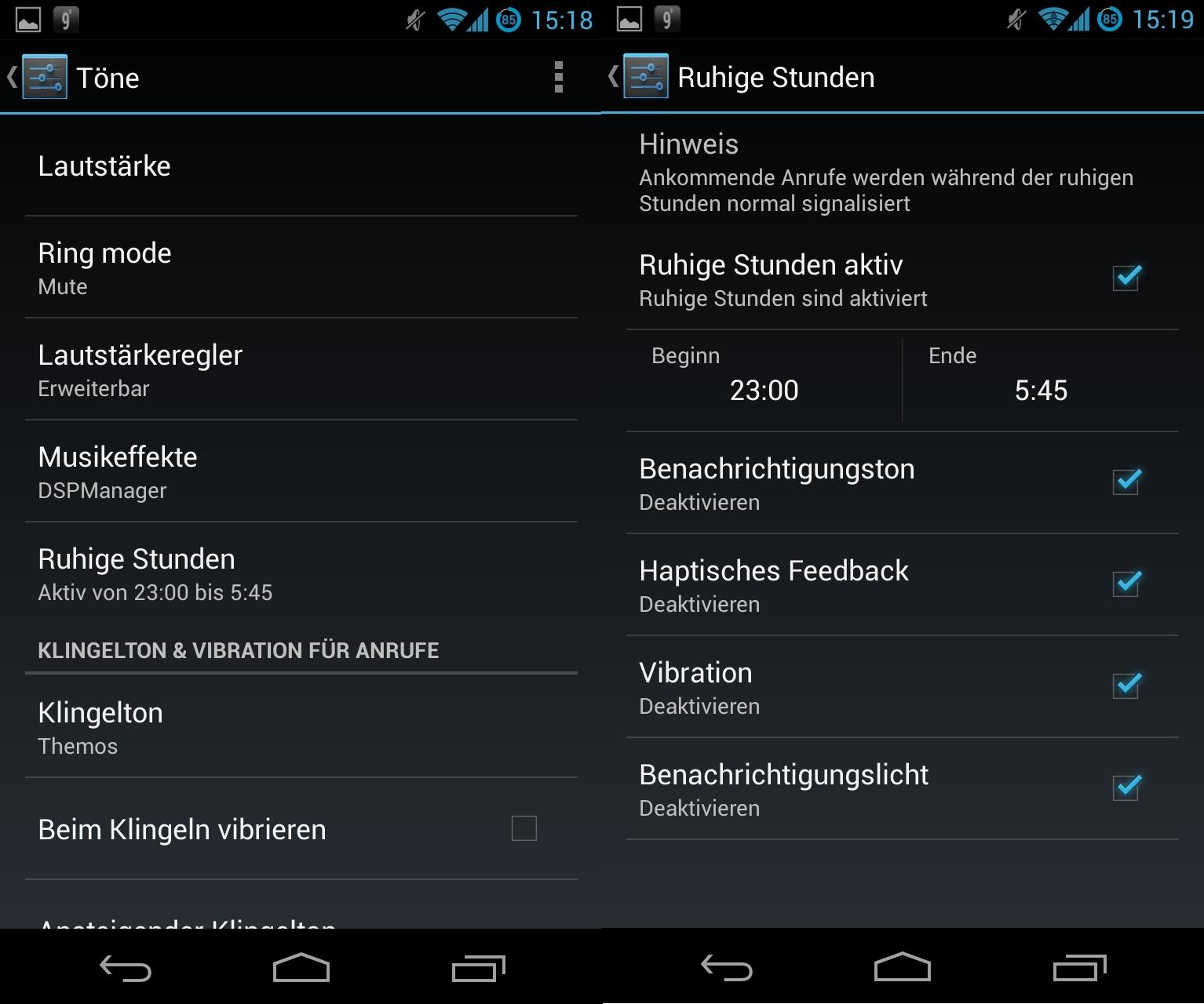 """Last but not least bietet CyanogenMod noch etwas, was auch iPhone-Anwender kennen. Was unter iOS \""""Nicht stören\"""" heißt, nennt sich unter CyanogenMod 10.1 \""""Ruhige Stunden\"""". Bis auf eingehende Gespräche lässt sich das Gerät zu bestimmten Zeiten damit ruhigstellen."""