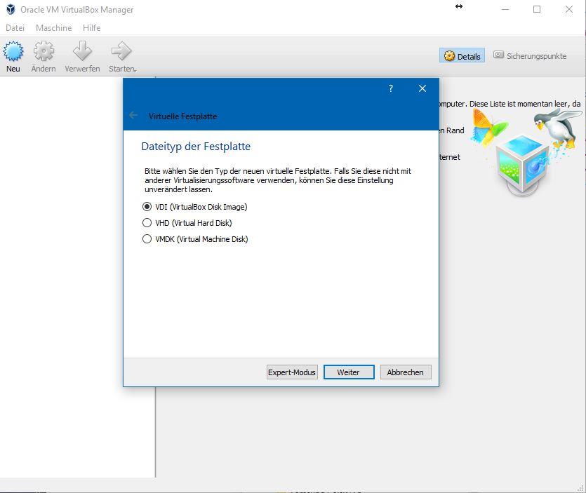 Virtualbox unterstützt zahlreiche virtuelle Festplattenformate. Wer einen späteren Umzug der virtuellen Maschine zu Microsoft oder VMware plant, wählt das entsprechende Format aus. Ansonsten belässt man es bei der Standardeinstellung.
