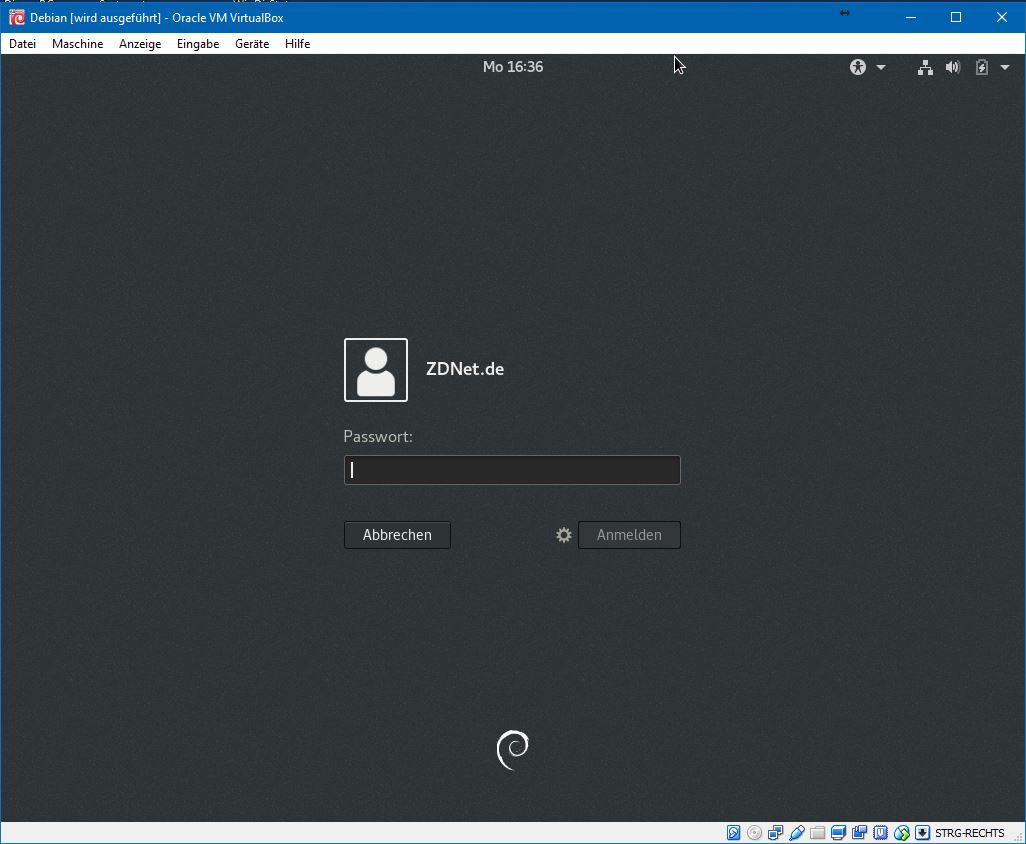Nun muss man das zuvor erstellte Passwort des Nutzers eingeben.