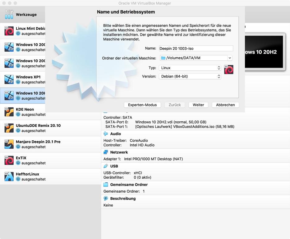 """<a href=\""""https://www.virtualbox.org/wiki/Downloads\"""" target=\""""_blank\"""">Virtualbox</a> steht für Windows, macOS und Linux zur Verfügung. Damit lassen sich gängige Betriebssysteme virtualisieren, sodass man zum Beispiel das neue Deepin 20 1003 auch unter macOS und Windows nutzen kann. </br> Die Einrichtung wird durch einen Assistenten unterstützt. </br>  Zunächst legt man den Namen der virtuellen Maschine fest, gefolgt von Typ (Linux) und Version (Debian).</br> <br> <b>Weitere Artikel zum Thema</b><br> - <a href=\""""https://bit.ly/3nBXT4M\"""" target=\""""_blank\"""">Deepin: Update bringt zahlreiche Neuerungen</a><br> - <a href=\""""https://bit.ly/36P6Z7d\"""" target=\""""_blank\"""">""""Das schönste Linux der Welt"""": Deepin 20</a><br> - <a href=\""""https://bit.ly/3pxmjhu\"""" target=\""""_blank\"""">Download Deepin 20 1003 (2,9 GByte)</a><br>"""