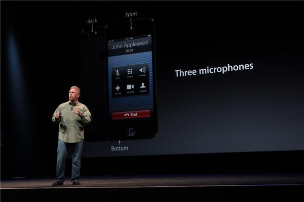 iPhone 5 ist mit drei Mikrofonen ausgestattet. Eines sitzt auf der Rückseite.