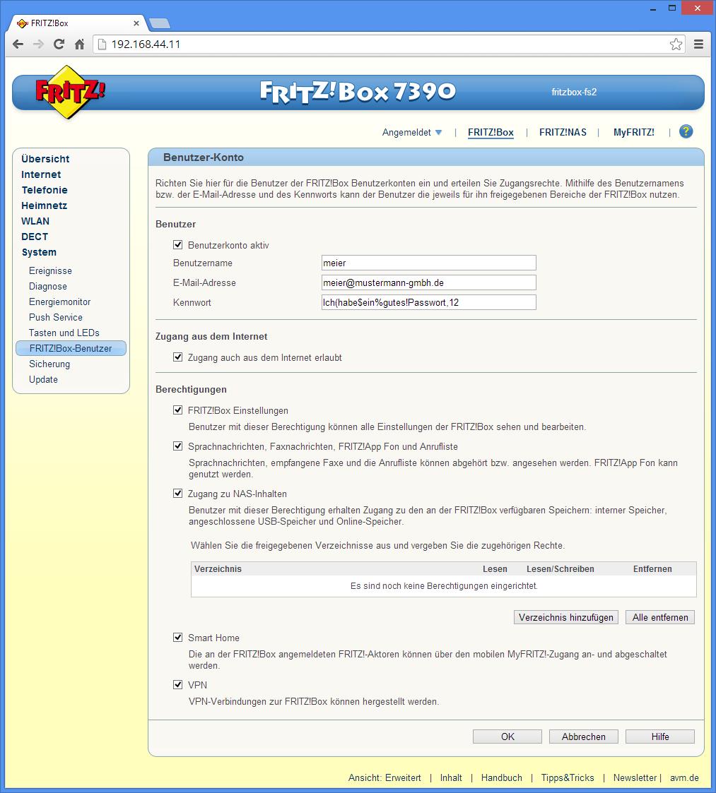 Die einheitliche Benutzerverwaltung sorgt dafür, dass nicht für jedes Feature eigene Benutzer angelegt werden müssen wie bei FritzOS 5.5x. Erweiterte Busnessfunktionen, beispielsweise Active-Directory-Integration gibt es allerdings nicht.